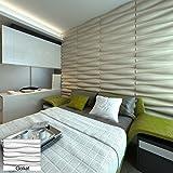 3D-Wandpaneel als Wanddeko aus Bambusfaser, Modell: Amanda, weiß