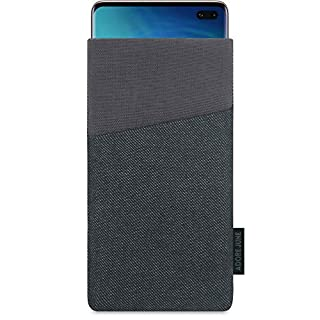 Adore June Clive Pouch for Samsung Galaxy S10 Plus / S10+, Case With Extra Pocket And Display Cleaning Effect, Black/Grey