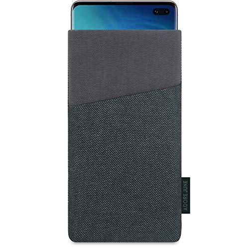 Adore June Clive Custodia per Samsung Galaxy S10 Plus / S10+, Borsa Tessuto con Tasca Extra e Display di Pulizia Effetto, Nero/Grigio