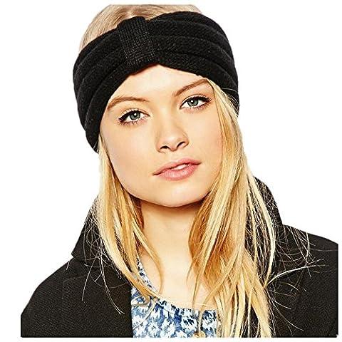 Fletion Mode Femmes en tricot Bandeau Crochet Knit Bow Hiver Femme Earmuffs Band Accessoires cheveux