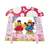 Mini Fairy Tale Kids Puppet Theatre with Two Finger Puppets Set (Wooden Puppet Theatre with Removable Stand) Lucy Locket