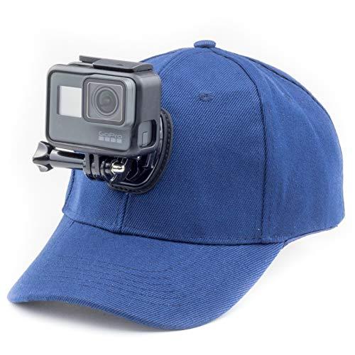 Digicharge Baseballkappe mit Action-Kamera-Halterung, kompatibel mit GoPro Hero Akaso Crosstour Campark Fitfort Garmin VIRB Apeman Sony Camkong Motorola Victure Kitvision Nikon Cam, blau Motorola Style Mount