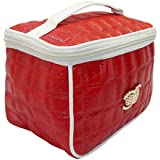 RK Brands Red Portable Designer Makeup, Travel, Dressing Organiser Vanity Box  (Red With White Lining)