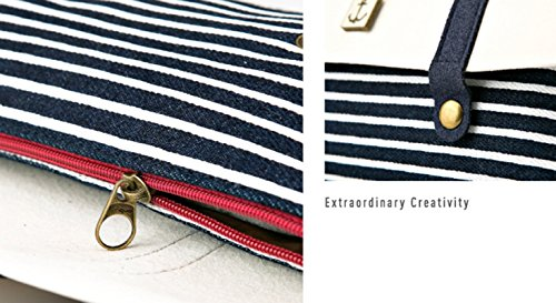 Drawihi matita penna bag Holder zero in tela stile a righe da marinaio modello Linen matita di luce di colore blu