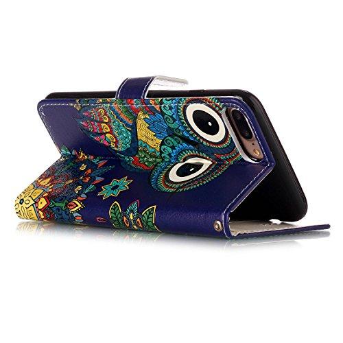 Sunroyal Flip Handyhülle für iPhone 7 Plus 5.5 zoll Diamant Lederhülle Bookstyle Tasche PU leder Hülle Bling Schutzhülle mit Standfunktion Magnetverschluss und Kartenfächern ID Card Handytasche Multif Eule