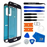 MMOBIEL Front Glas Reparatur Set für Samsung Galaxy S4 Mini i9190 i9195 Series (Schwarz) Display Touchscreen mit 11 tlg. Werkzeug-Set inkl passgenauem Klebe-Sticker / Pinzette / Saugnapf / Metall Draht / Tuch