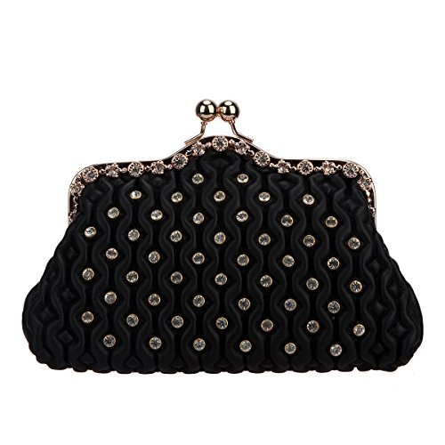 Bonjanvye Kiss Lock Crystal Purses and Handbags for Women Clutches Evening Black (Lock Kiss Handbag)
