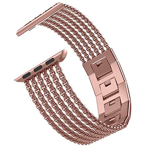 Wearlizer für Apple Watch Armband 42mm 44mm, Edelstahl Metall iWatch Straps Ersatzband Uhrenarmband Wristband Zubehör für Apple Watch Serie 4 / Serie 3 / Serie 2 / Serie 1 - Rose Gold