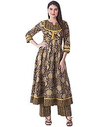 Khushal Women's Cotton Printed Designer Kurta With Palazzo Pant Set - B07BCZ2SQB