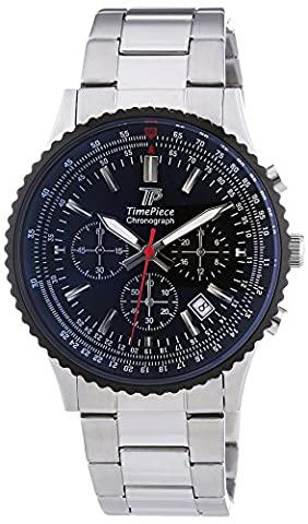 Time Piece TPGS-20136-21M Men's Sporty Quartz Chronograph Watch with Stainless