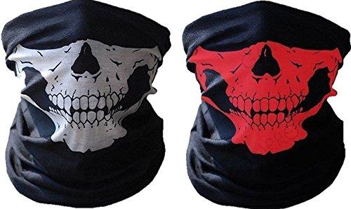 2x Premium Multifunktionstuch | Sturmmaske | Bandana | Schlauchtuch | Halstuch mit Totenkopf- Skelettmasken für Motorrad Fahrrad Ski Paintball Gamer Karneval Kostüm Skull Maske (Weiß/Rot)