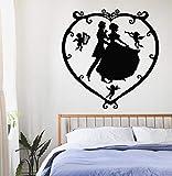 Decalcomanie da muro Angeli rimovibili Amore Cupido Design Wall Sticker Home Decor Amore Coppia Wall Art Murale Adesivo in vinile sul muro 42x43CM