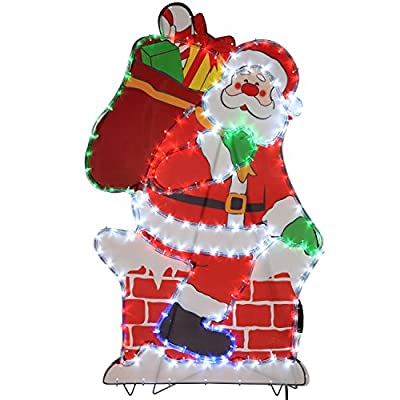 WeRChristmas 100 cm Large Chimney Santa LED Rope Lights Silhouette Outdoor Garden Wall Christmas Decoration - cheap UK light shop.