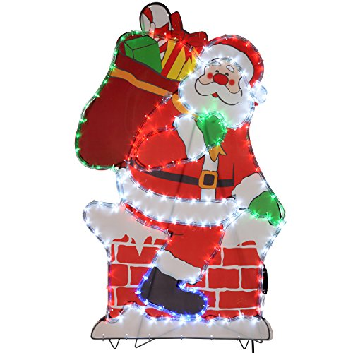 werchristmas 100 cm large chimney santa led rope lights silhouette outdoor garden wall christmas decoration cheap uk light shop