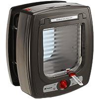 Feplast 72090012 Puerta para Gatos con Microchip Swing Microchip, Sistema de Protección Contra Corrientes de Aire, Sistema de Cierre de 4 Vías, Collar para Gato Incluido, 22.5 x 16.2 x 25.2 Cm Marrón