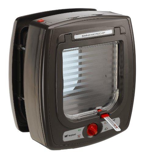 Ferplast 72090012 Swing Katzenklappe mit Microchip, braun, Außen circa 22.5 x 13.4 x 25.2 cm, Innen circa 13.5 x 13.7 cm