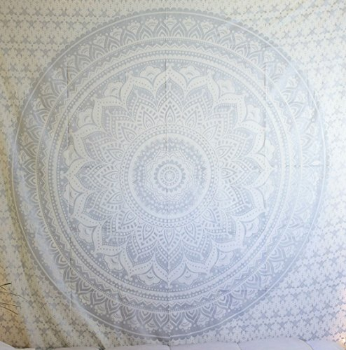 Original Grey Ombre Tapestry , Indian Ombre Mandala Magical Thinking Tapestry Wall Hanging