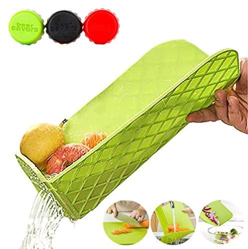 Multifunktionales zusammenklappbares Schneidebrett mit integriertem Sieb, antibakterielle Abtropfschale aus Kunststoff + zusammenklappbares Abtropfgestell für Obst, Gemüse, Geschirrspüler