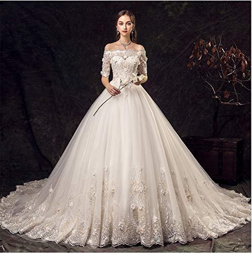 UNIQUE-F Brautkleider Sexy Kleid Damen Retro Abendkleider Mädchen Hochzeit Long Trailing Engagement Prom Party Elegant XL
