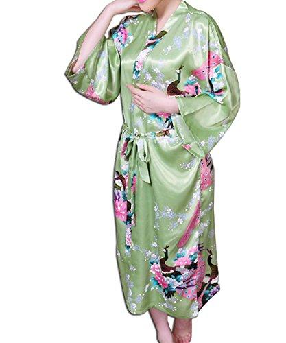 KAXIDY Robe de Nuit Robe de Chambre Femme Vêtements de Nuit et Peignoirs Pyjama Peignoir Vert