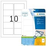 Herma 5028 Universal Etiketten Visitenkartenformat (83,8 x 50,8 mm) weiß, 250 Klebeetiketten, 25 Blatt A4 Premium Papier matt, bedruckbar, selbstklebend