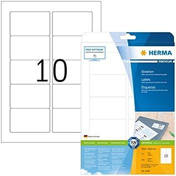 Herma 5028 Etiketten Premium A4 Papier matt, 83,8 x 50,8 mm 250 Stück weiß