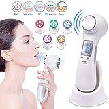 6 in 1 Ultraschallgerät Schönheit Gerät, Gesichtslifting Maschine EMS & RF Massagegerät mit 5 modi LED Lichttherapie für Hautpflege Gesichtsreiniger Anti-Aging Anti-Falten Schönheitsgerät