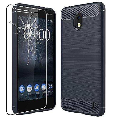 ebestStar - Cover Nokia Nokia 2 Custodia Protezione Silicone Gel TPU Design Fibra di Carbonio Anti Scivolo, Blu Scuro + Pellicola Vetro Temperato [Apparecchio: 143.5 x 71.3 x 9.3mm, 5.0'']