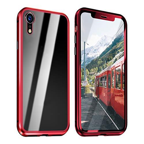 ZXK CO iPhone Xr Hülle Magnet, Einteiliges 360 Grad Vollbildabdeckung Gehärtetes Glas Handyhülle mit Panzerglas Rückseite Vorne und Hinten Case Cover für iPhone Xr 6.1 Zoll