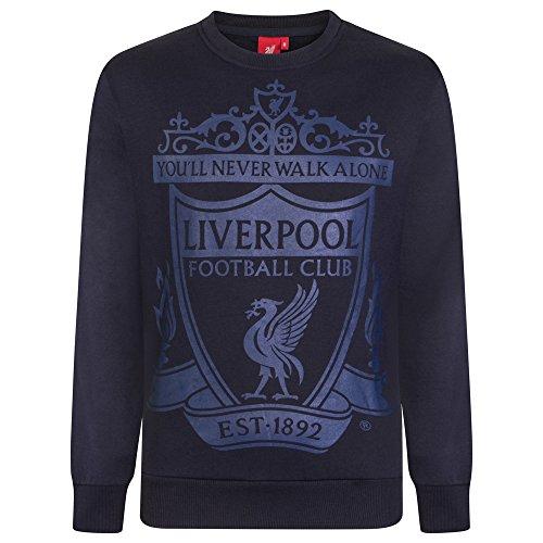 Liverpool FC - Herren Sweatshirt mit Vereinswappen - Offizielles Merchandise - Geschenk für Fußballfans - Dunkelblau - M