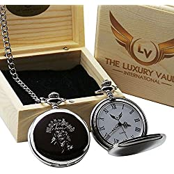 Motorhead Lemmy Signed Pocket Watch and Chain in Luxury Wooden Gift Case Autographed