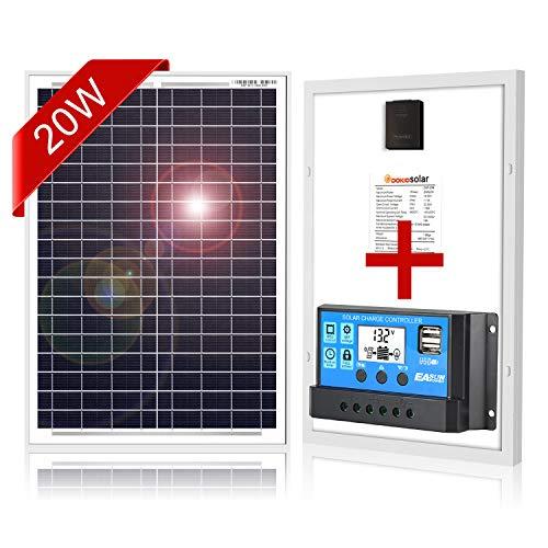 DOKIO 20 W monokristallines Solarpanel mit 10 A Regulierer zum Aufladen von 12 V Batterie für Wohnmobil, Wohnmobil, Wohnmobil, Wohnmobil, Boot oder Yacht, Off-Gitter Home