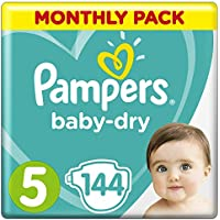 Pampers Baby-Dry Size 5, 11-16 kg, 1 Month Pack (144 diapers) - ukpricecomparsion.eu