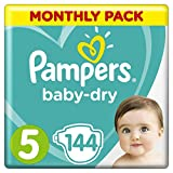 Pampers Baby-Dry Size 5, 11-16 kg, 1 Month Pack (144 diapers) Bild