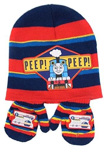 Thomas the Tank Engine Stripey Hat and Mitten set 'Peep Peep' 6-23 months Red