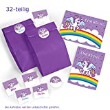 8-er Set Einladungskarten, Umschläge, Tüten/lila, Aufkleber Kindergeburtstag Einhorn Mädchen Geburtstagseinladungen Einladungen Geburtstag Party Kinder Kartenset Unicorn