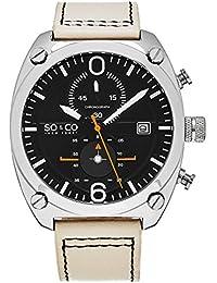 So & Co New York Hombre Aviator Style reloj cronógrafo, esfera de color negro, con detalles en blanco y naranja, 5285.2