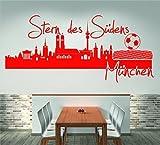 Skyline München Stern des Südens (120 cm Breite, rot), Wandtattoo, Wandaufkleber, Wohnzimmer, Dekoration, Wanddekoration + GRATIS-Zugabe!!!