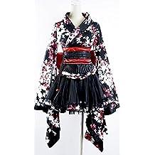 Kimono Negro con flores blancas y rojas pyon pyon LQ-001