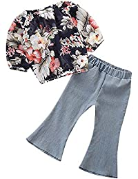 Vovotrade Toddler Baby Girls Long Sleeve Flower Print Tops + Denim Flare Pants Children Outfits Sets