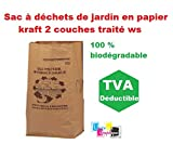 Sac à déchets de jardin en papier kraft 60 LITRES Pour dechets organique - compatible compostage - lot de 3 piéces Papier kraft double feuille traité WS signifie Wet Strength) DE MARQUE UNIVERS GRAPHIQUE REF UGSD60l