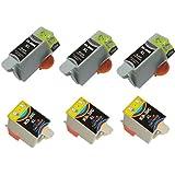 6 cartuchos de tinta compatibles para Kodak ESP C100 30 XL C110 C115 C300 C310 C315 C330 C360, Oficina 2100 2150 2170 ALL-In-One, Hero 3.1 5.1 ALL-In-One