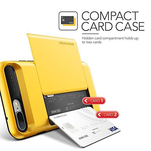 iPhone 7 Plus Hülle, VRS Design [Damda Glide Serie] Semi-Automatisch Kartenfach mit Militärischer Schutz für Apple iPhone 7 Plus 2016 - Schwarz Gelb