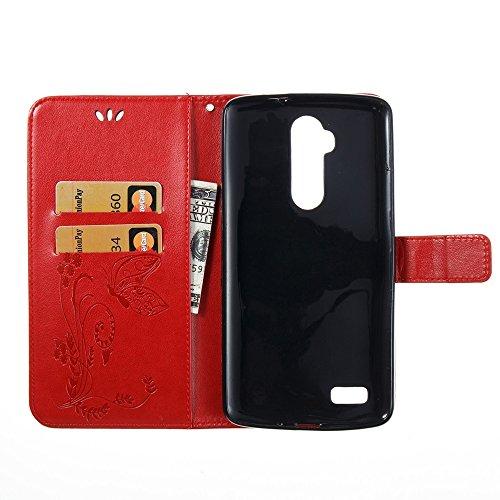 Solid Color Faux Leder Bookstyle Brieftasche Stand Case mit geprägten Blumen & Lanyard & Card Slots für ZTE Z986 ( Color : Gray ) Red
