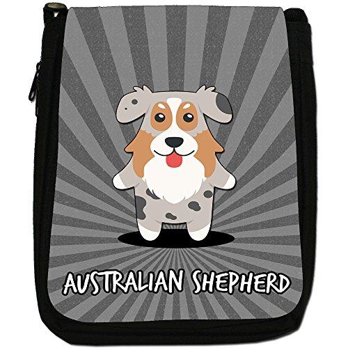 American Cartoon Dogs-Borsa a tracolla in tela, colore: nero, taglia: M Australian Shepherd, Aussie