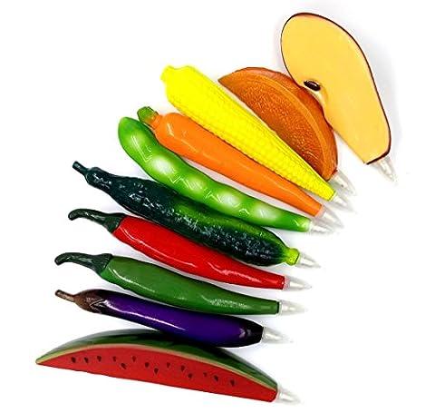 glanzzeit Creative Stylo à bille mignon Réfrigérateur Aimants Fruits et Légumes forme Lot de 12
