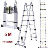 HDM 5M Teleskopleiter Klappleiter Aluminium ausziehbare Aluleiter Leiter 2.5M+2.5M Doppelseite, 2 in 1 Mehrzweckleiter Stehleiter mit Sperrhebel und Stabilisator Funktion, 150 kg Belastbarkeit