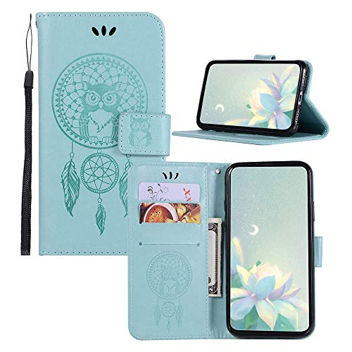 JZ BestCatgift Wallet Phone Hülle ZC600KL [Embossed Owl] Solid Color PU Leather Flip Cover Für Asus Zenfone 5 Lite ZC600KL/5Q 6.0 Inch - Baby Green