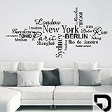 DESIGNSCAPE® Wandtattoo Weltstädte New York, Paris, Tokio, London, Paris, Berlin... 80 x 40 cm (Breite x Höhe) schwarz DW806046-S-F4