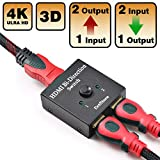 HDMI Switch 2 Ports bidirektionaler Verteiler 2 x 1 / 1 x 2 HDMI Hub-HDCP Durchleitung – unterstützt Ultra HD 4K 1080p von DotStone